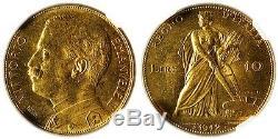 1912-r Vittorio Emanuele III Gold 10 Lire Ngc Ms64
