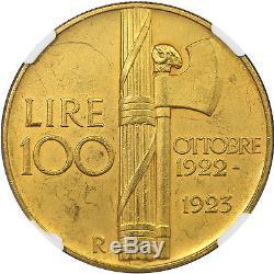 1923R Italy Gold 100 Lire, Fascist Anniversary, NGC MS61 Matte