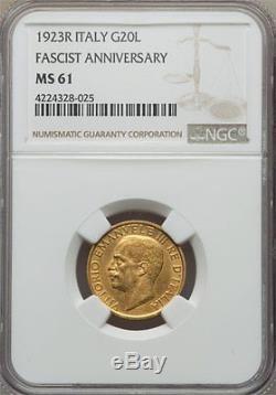 1923 Gold 20 Lire Italy Fascist Anniversary, Very Rare, Ngc Ms-61