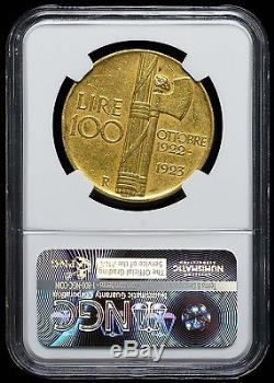 1923 R 100 Lire Italy Au 53 Ngc Gold Coin Fascist Anniversary Rare Uncirculated