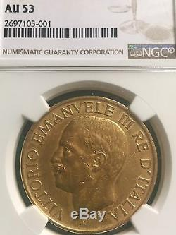 1923 R ITALY 100L FASCIST ANNIVERSARY RARE REAL NGC AU 53 gold coin