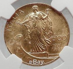 1931 ITALY King Victor Emmanuel III Gold 100 Lire ITALIAN Coin NGC MS 62 i61383