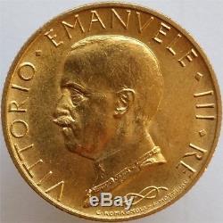 1931-ix Gold 100 Lire Italy, Very Rare, Choice Uncirculated
