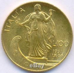 1931-ix Gold 100 Lire Italy, Very Rare, Uncirculated