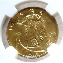 1931 R IX Gold Italy 100 Lire Ngc Mint State 62 Vittorio Emanuele III
