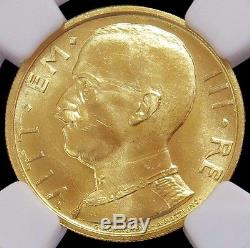 1931 R IX Gold Italy 50 Lire Vittorio Emanuele III Coin Ngc Mint State 64