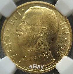 1931-R IX Italy Gold 50 Lire NGC MS-63