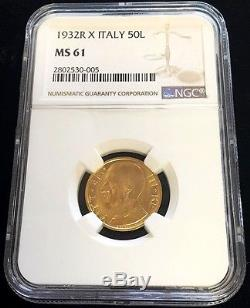 1932 R X Gold Italy 50 Lire Vittorio Emanuele III Coin Ngc Mint State 61