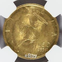 1933-R XI Italy 50 Lire Gold Coin NGC MS 63 KM# 71 Mintage 6,463 RARE