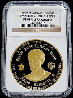 1966 Gold Ethiopia $100 Haile Selassie 1 Birth & Reign Ngc Proof 68 Ultra Cameo