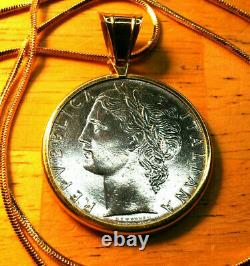 1977 Italian 100L in a 14k Gold Coin Pendant w 18 18KGF Gold Filled Snake Chain
