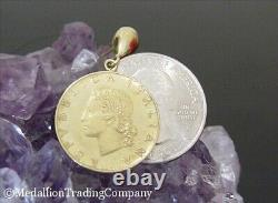 1981 Italian 20 Lire Coin Republic Italy Lira with 14k Solid Yellow Gold Earrings