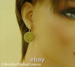 1991 Italian 20 Lire Coin 14k Solid Yellow Gold Bezel Earrings Republic of Italy