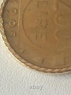 1995 ITALIAN 200 LIRE COIN14k SOLID YELLOW GOLD BEZEL HOLDERPENDANT6 GRAMS