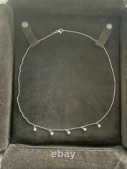 $1,080 Authentic 18kt WHITE Gold Dangling Diamond Necklace-Roberto Coin