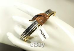 $1,810 Roberto Coin Martellato Yellow Gold & Silver Bracelet 4/Set Bangle NWT