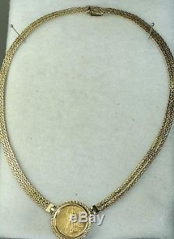 2001 1/4 Oz Liberty 10.00 Coin Necklace Italy 36 Grams 16 Inches
