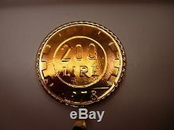 200 LIRE Italian Coin1978 Pendant Encased 14KT Yellow Gold Bale &Frame Italy NEW