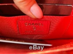 20c Chanel Red Caviar Leather Gold Hw Snap O-coin CC Credit Card O-case Wallet