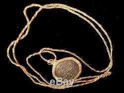 24 Karat Yg & Antique Coin Pendant In 18k Twisted Wheat Chain Necklace