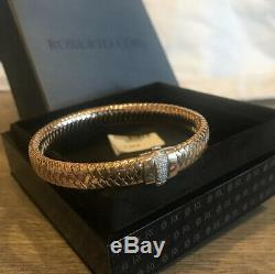 $3100 Roberto Coin 18k Rose Gold Primavera Flex Diamond Bracelet-pristine