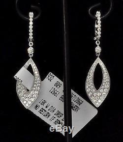 $3200 Roberto Coin Diamond Drop White 18K Gold Earrings New Sale