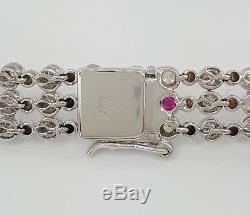 3.6 ct Roberto Coin 18k White Gold Round Cut Diamond Three Row Bracelet 7