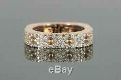 $4,700 Roberto Coin Pois Moi 18K Rose Gold Pave Round Diamond 1 Row Square Ring