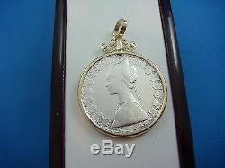 500 Lire Milor Italian Coin Pendant In 14k Yellow Gold Frame 12.5 Grams