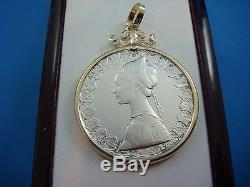 500 Lire Milor Italian Coin Pendant In 14k Yellow Gold Frame 12.5 Grams