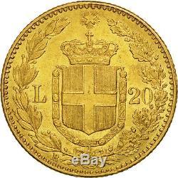 #506458 Italy, Umberto I, 20 Lire, 1889, Rome, Gold, KM21