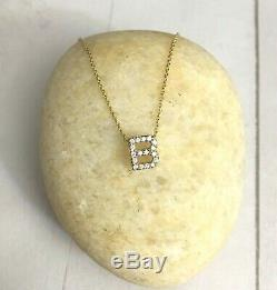 $580 Roberto Coin Tiny Treasures Love Letter B Necklace 18K Yellow Gold Diamonds