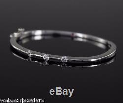 $6,200 Roberto Coin 18K White Gold Classica Parisienne Diamond Bangle Bracelet