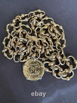 80s 90s Vintage Chanel Chain Gold Plated Belt Necklace Chunky Coin Adjustable