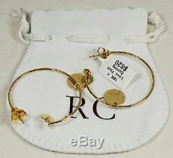 $820 Roberto Coin 18k Yellow Gold Metallic I Love You Dangle Hoop Earrings NWT