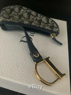 AUTHENTIC Christian Dior Bag Charm Trotter Coin purse Navy gold Canvas