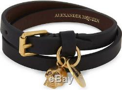 Alexander McQueen Double Wrap Leather Bracelet With Gold Skull & Coin Decal