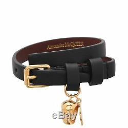 Alexander McQueen Double Wrap Leather Bracelet With Gold Skull & Coin LK