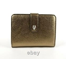 Alexander McQueen Gold Metallic Grain Leather Folded Coin Purse 516313 7048
