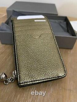 Alexander Mcqueen Metallic Gold Leather Card Holder & Coin Zip Wallet Purse