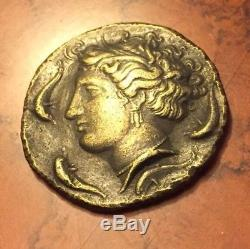 Ancient Greece Sicily Coin Part Gold Or Bronze Syracuse Dolphins Horses 100AD AD
