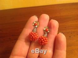 Antique Vintage Estate Gold Silver Coral Earrings Coin Parts
