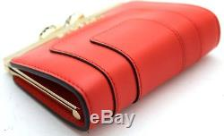 Auth BVLGARI Red color Calf Leather Gold Mini Wallet Coin Purse