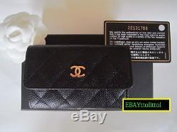 Auth Bnib Chanel Black Caviar Gold CC Card Holder Coin Wallet + Receipt