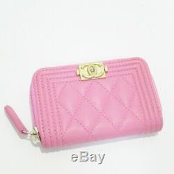Auth CHANELBoy Chanel Coin Case Pink x Gold Hardware Mini Wallet (310834)