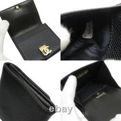 Auth CHANEL CC Logo Coin Purse Black/Gold Caviarskin Leather h26705f