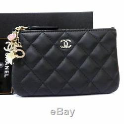 Auth CHANEL Lamb Leather Cosmetic Pouch Coin Purse Multi-charm Unused E1546