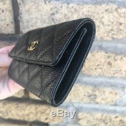 Auth Nib Chanel Black Caviar Gold CC Logo Purse Card Holder Coin Wallet