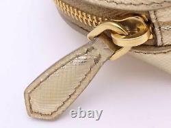 Auth PRADA Saffiano Coin Change Purse Gold Saffiano Leather e47160e