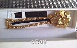 Auth. Versace $895 Medusa Gold-toned Crystal Leather Coin Charms Bracelet Large